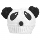 HQS-G105157 Kid's Cute Panda Style Warm Knitted Woolen Yarn Cap - White + Black