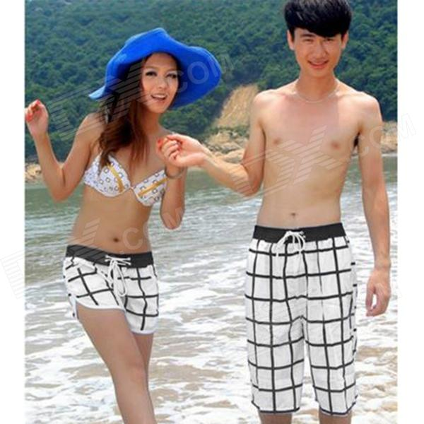 Men's Checked Beach Shorts - White + Black (Size XXL)