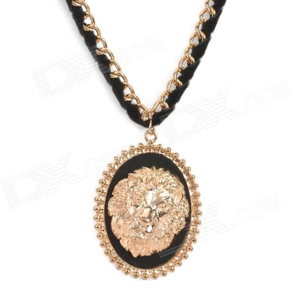 SHIYING A02421 Woman's Retro Stylish Lion Head Style Pendant Necklace - Black + Golden shiying women s retro leaf style zinc alloy pendant necklace silver black multi color