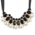 SHIYING A02304 Stylish Luxurious Artificial Pearl + Shiny Crystal Pendant Necklace - Black