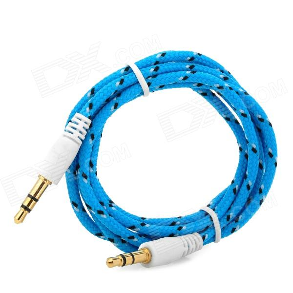 3.5mm Male to Male Audio Connection Nylon Cable - Blue + Black + White (1m)