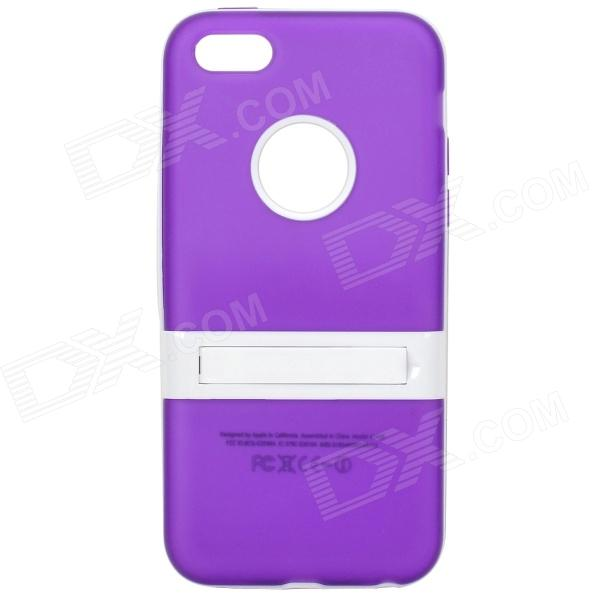 Protective TPU Soft Back Case Stand for Iphone 5C - Translucent Purple + White glossy tpu gel back protection case for iphone 7 plus light purple