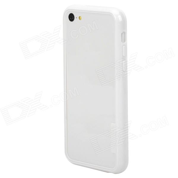 Protective Plastic Bumper Frame Case for Iphone 5C - White stylish protective plastic bumper frame case for iphone 5c beige black