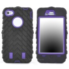 Detachable Protective Silicone + PC Case for Iphone 4 / 4S - Black + Purple