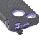 Desmontable silicona caso protector + PC para Iphone 4 / 4S - Negro + Purple