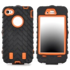 Detachable Protective Silicone + PC Case for Iphone 4 / 4S - Black + Orange