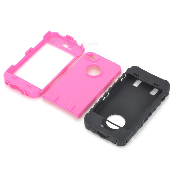 Detachable Protective Silicone + PC Case for Iphone 4 / 4S - Black + Deep Pink stylish bubble pattern protective silicone abs back case front frame case for iphone 4 4s