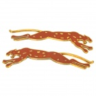 Jumping Leopard Style Zinc Alloy Car Stickers - Silver (2 PCS)