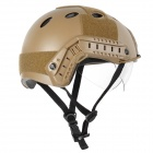 Tactical Wargame / Motorcycling Helmet w/ Eye Protection Glasses - Sand Color + Black (Size +L7)
