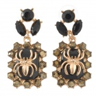 Shiying D04337 Frau Retro Stilvolle Spinne Muster Shiny Strass Ohrringe - Schwarz + Golden
