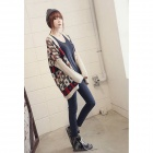 MP090 Stylish Geometric Pattern Jacquard Weave Knitted Woolen Yarn Cardigan - Multicolored