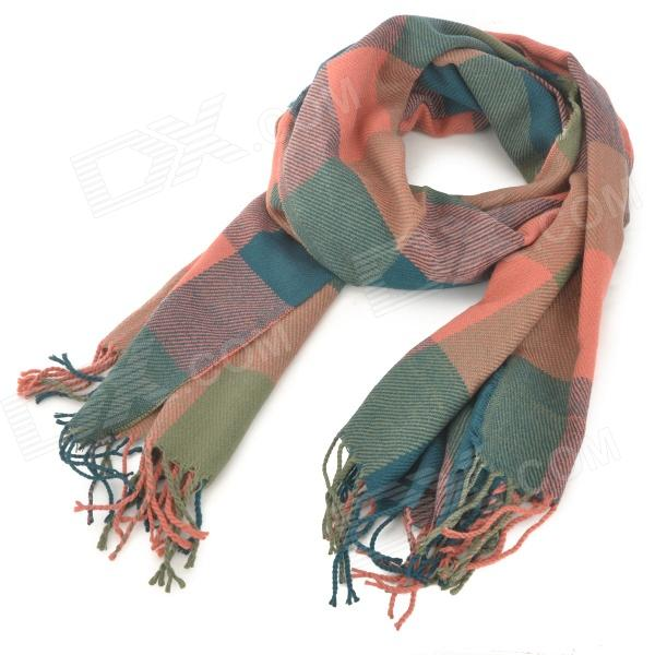 CPP01-04 Woman's Stylish Plaid Pattern Warm Cozy Blending Scarf Cappa - Multicolored