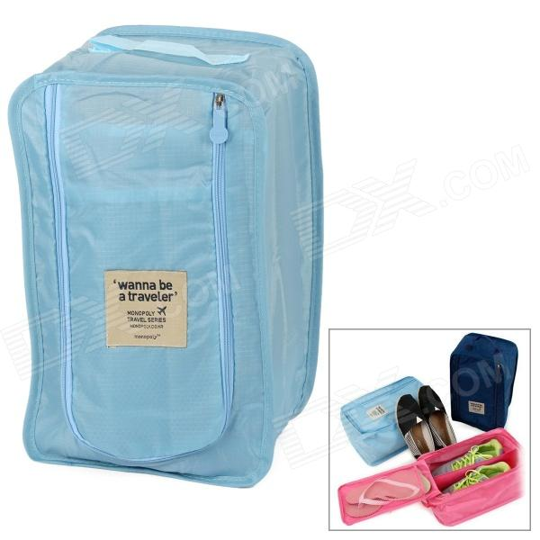 Water Resistant Travel Shoe Nylon Bag - Blue
