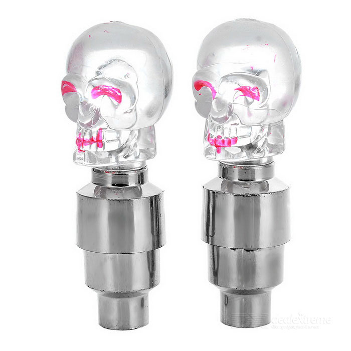 Skull Style Car Tire Valve Colorful Light Flashing Lamps - Silver + Transparent (3 x L1130) diy multi color motorcycle bike cranked tire valve light white silver 3 x ag10