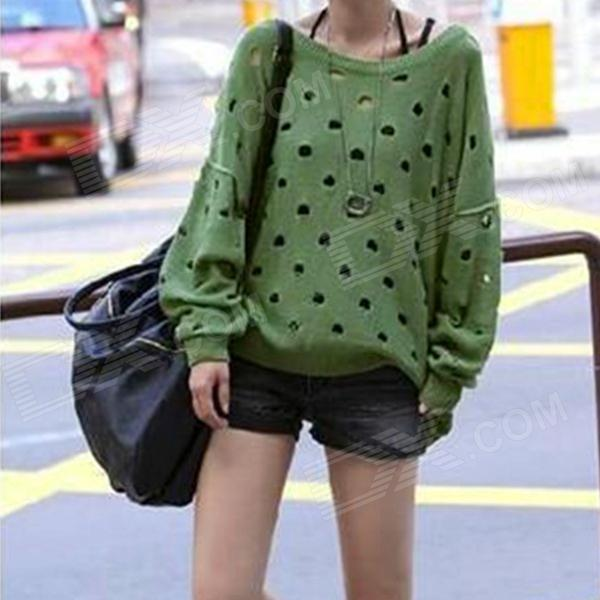 YLY-DXH622-6222# Fashion Hollow Out Loose Sweater for Women - Green