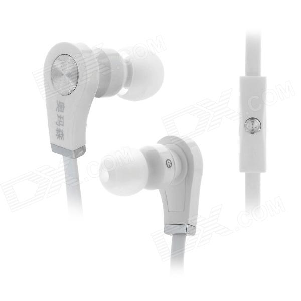 OMASEN OM-M9 Flat Stereo In-Ear Earphones w/ Microphone / Clip for Iphone / HTC / Samsung - White omasen om78 stylish stereo earphone w microphone for iphone ipod htc samsung white 3 5mm