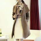 Long Sleeved Turn-down Collar Long Woolen Coat - Camel (Size M)