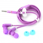 OMASEN OM-M9 Flat Stereo In-Ear Earphones w/ Microphone / Clip for Iphone / HTC / Samsung - Purple