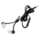 Aluminum Alloy Zipper in-Ear Earphones w/ Microphone for Iphone / HTC / Samsung + More - Black