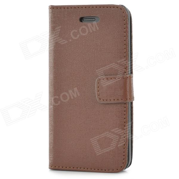 Protective Flip-open PU Leather Case for Iphone 5C - Deep Brown
