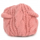 HQS-G105068-2306 Kid's Stylish Kitty Style Warm Knitted Woolen Yarn Cap - Pink