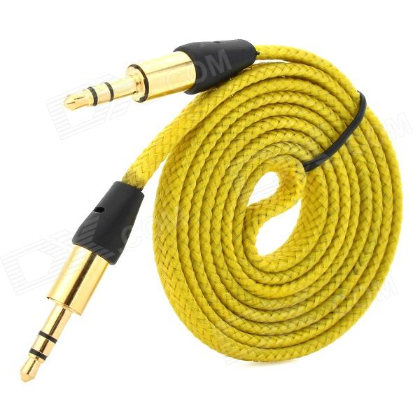 MM-35 3.5mm Male to Male Audio Connection Nylon Cable - Yellow + Golden + Black (1m) 3 5mm male to male audio connection nylon cable white red black 1m