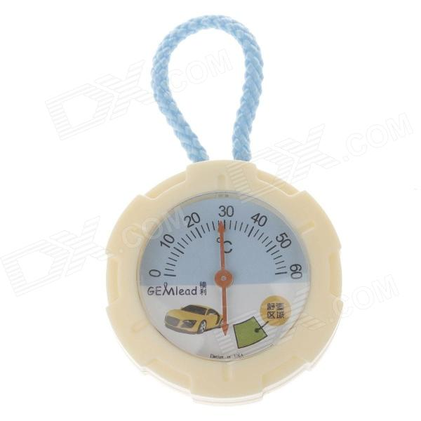 Gemlead Round Dial 0-60°C Temperature Measure Thermometer w/ Blue Strap for Car - Beige