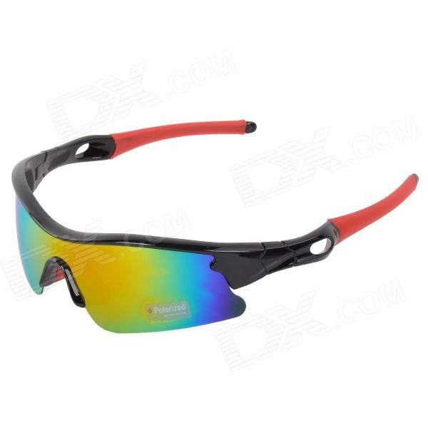 CARSHIRO 9384 Outdoor Cycling UV400 Protection Polarized Lens Sunglasses - Black + Red carshiro 9384 cycling polarized uv400 protection sunglasses black red