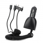 Dual-USB Car Charger w/ Lightning 8-Pin / 30-Pin Male Cable for iPhone / Samsung + More - Black