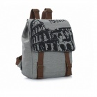 K-92 Fashionable Canvas Student Backpack - Grey + Brown