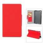 Stylish Flip-open PU Leather Case w/ Holder + Card Slot for Google Nexus 7 II - Red