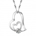 "eQute PSIW261 925 Silver Elegant Heart Shaped Pendant Necklace for Women - Silver + White (20"")"