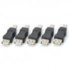 USB Female to B Male Printer Adapters - Black + Silver (5PCS)