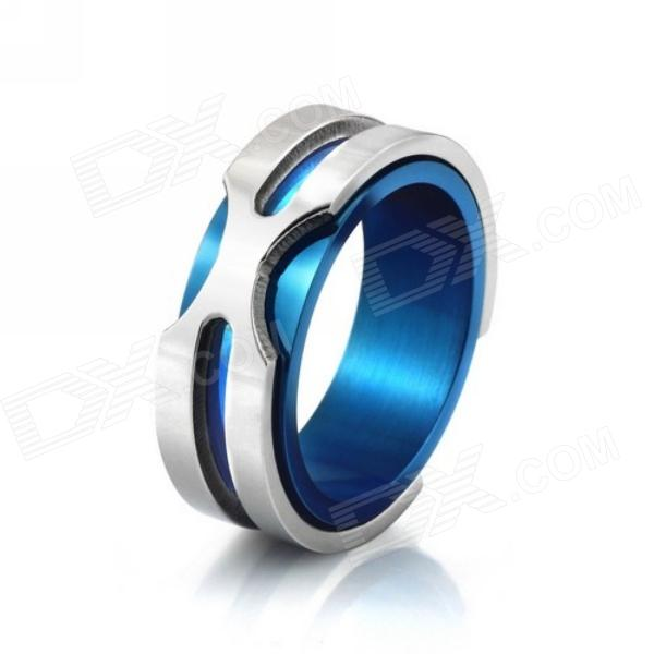 eQute RSSM35C5S10 316L Titanium Steel Finger Ring for Men - Blue + Silver (USA Size 10)