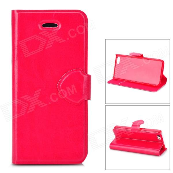 Protective PU Leather + Plastic Case Cover Stand for Iphone 5C - Deep Pink protective plastic case for iphone 5c blue