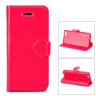 Protective PU Leather + Plastic Case Cover Stand for Iphone 5C - Deep Pink