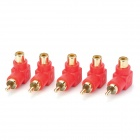 3.5mm RCA Male to RCA Female Right Angle Adapter - Red + Golden (5PCS)
