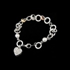Fashionable Rhinestone Heart Shape Pendant Bracelet - Silver + Golden