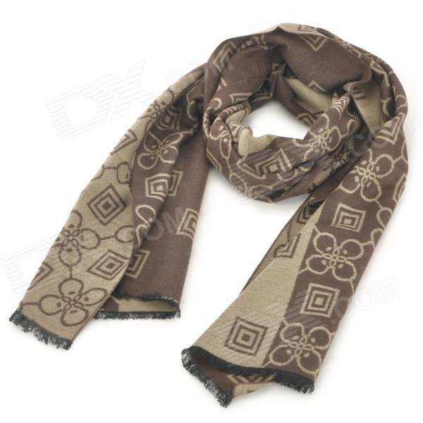 Men's Stylish Patterned Cozy Wool Spinning Scarf Muffler - Coffee
