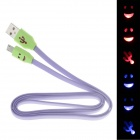 Smile Face Flat USB 2.0 Male to Micro USB Male Data Sync / Charging Cable - Light purple + Green