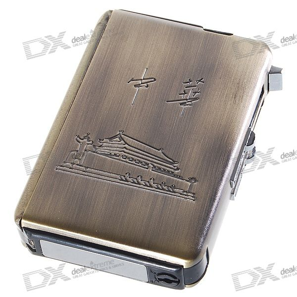 Automatic Ejection Metal Cigarette Case with Windproof Butane Jet Torch Lighter (Holds 10)