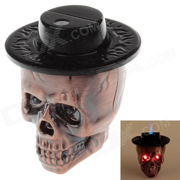 Cool Skull Heads Style Blue Flame Butane Gas Lighter  w/ Light + Sound - Purple Bronze + Black aluminum water cool flange fits 26 29cc qj zenoah rcmk cy gas engine for rc boat