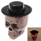 Cool Skull Heads Style Blue Flame Butane Gas Lighter  w/ Light + Sound - Purple Bronze + Black