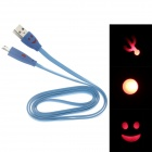 Smile Face Pattern Flat USB 2.0 Male to Micro USB Male Data Sync / Charging Cable - Blue