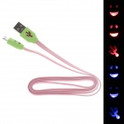 Smile Face Pattern Flat USB 2.0 Male to Micro USB Male Data Sync / Charging Cable - Pink + Green