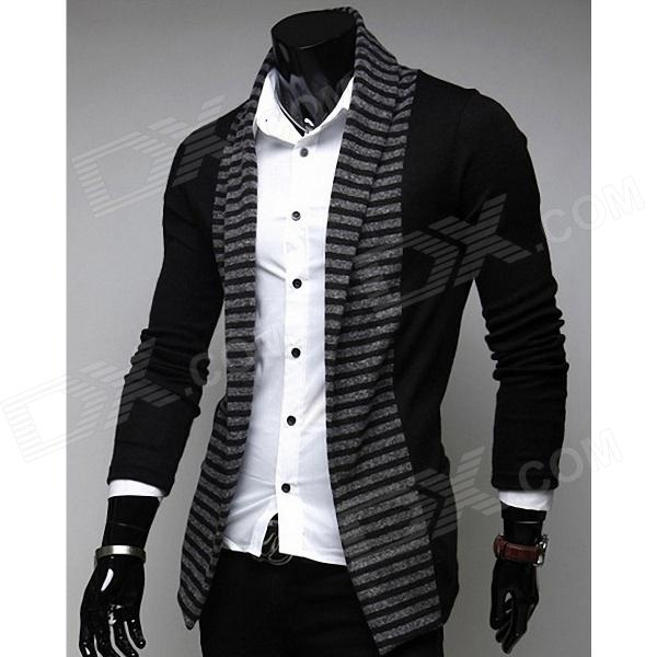 Fashionable Stripe Leisure Men's Long-Sleeved Cardigan - Black (Size-L)