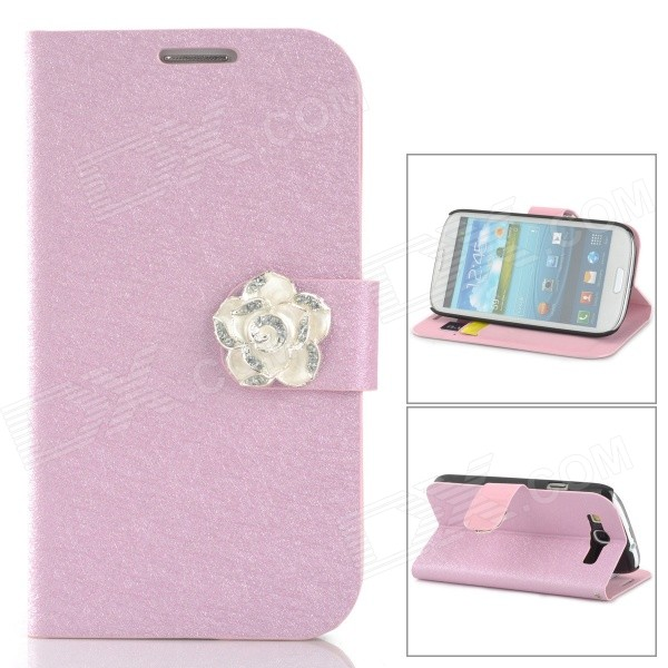 Protective PU Leather + Plastic Case w/ Holder / Card Slots for Samsung Galaxy S3 i9300 - Pink protect artificial leather wallet case w plastic holder for samsung galaxy note i9220 black