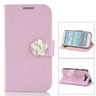 Protective PU Leather + Plastic Case w/ Holder / Card Slots for Samsung Galaxy S3 i9300 - Pink