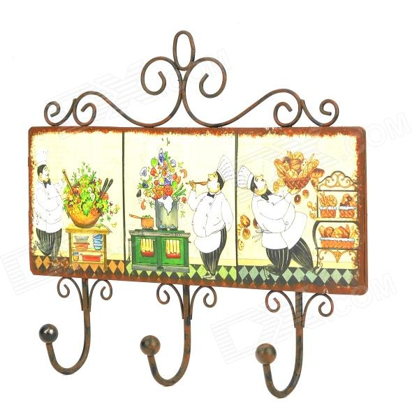 Retro Chef Pattern Iron Sheet + Wire Clothes / Key Hooks - Multicolored