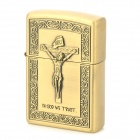 LiTian 01A Jesus Christ Pattern Zinc Alloy Yellow Flame Kerosene Oil Lighter - Brass